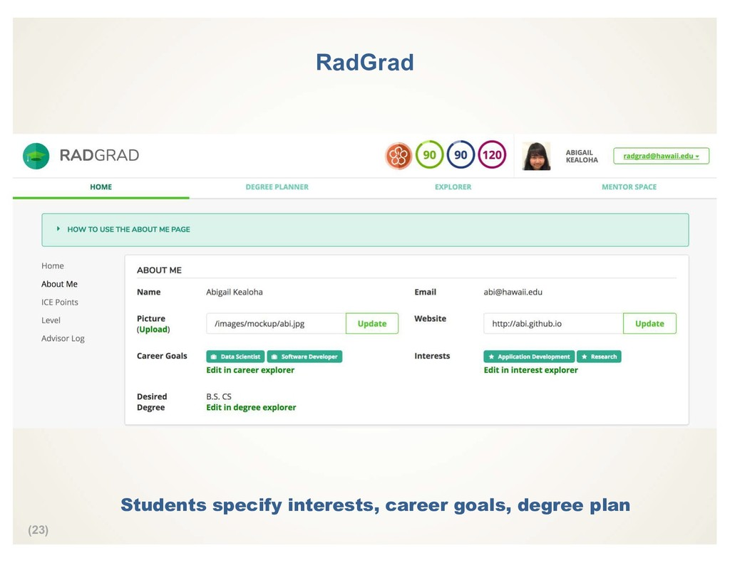 (23) RadGrad Students specify interests, career...