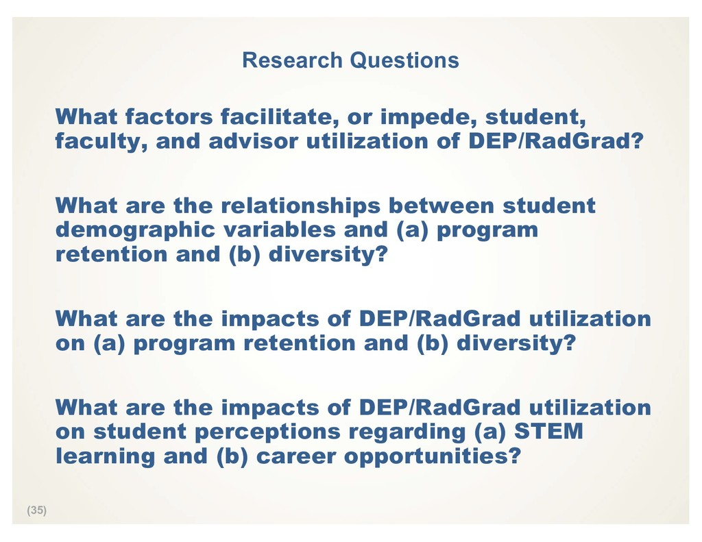 (35) Research Questions What factors facilitate...
