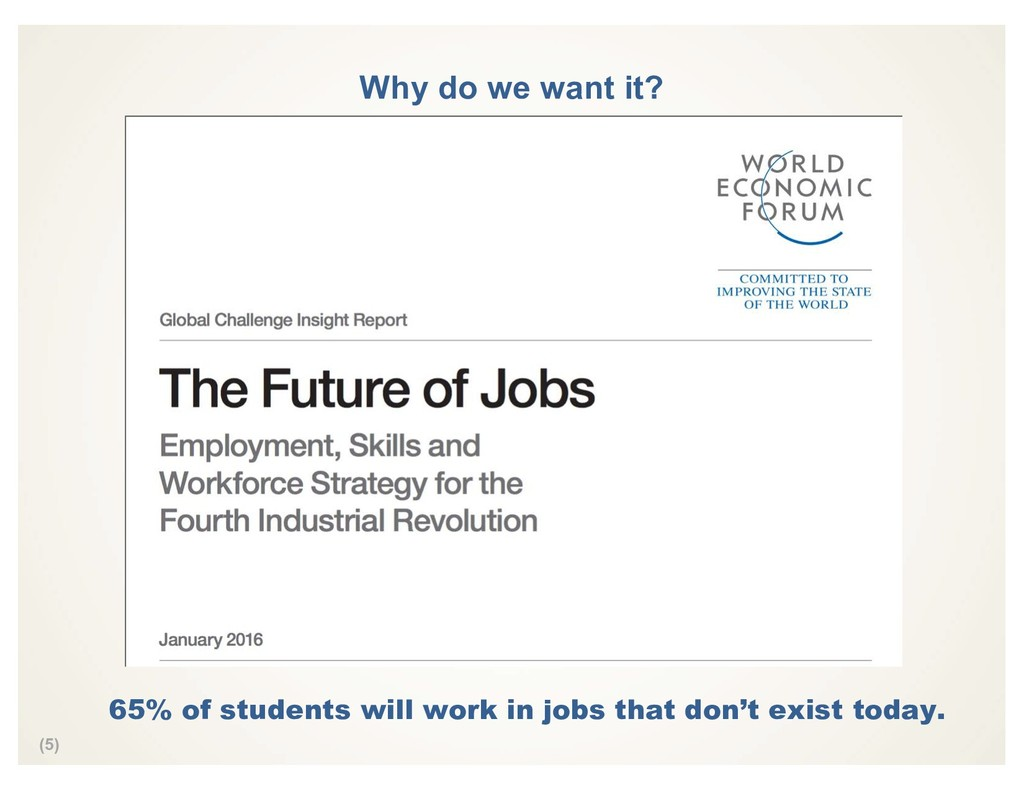 (5) Why do we want it? 65% of students will wor...