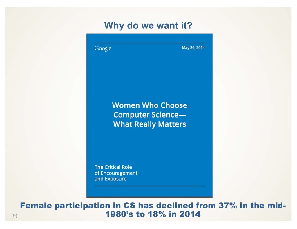 (9) Why do we want it? Female participation in ...