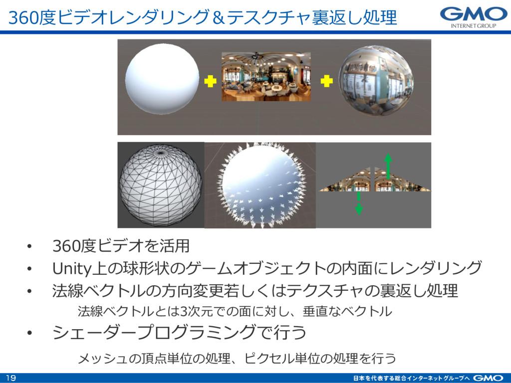 360度ビデオレンダリング&テスクチャ裏返し処理 • 360度ビデオを活用 • Unity上の...