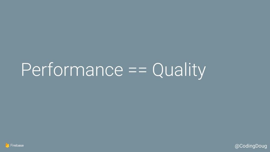 Performance == Quality @CodingDoug