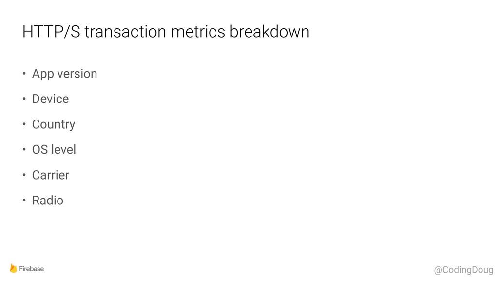 HTTP/S transaction metrics breakdown • App vers...