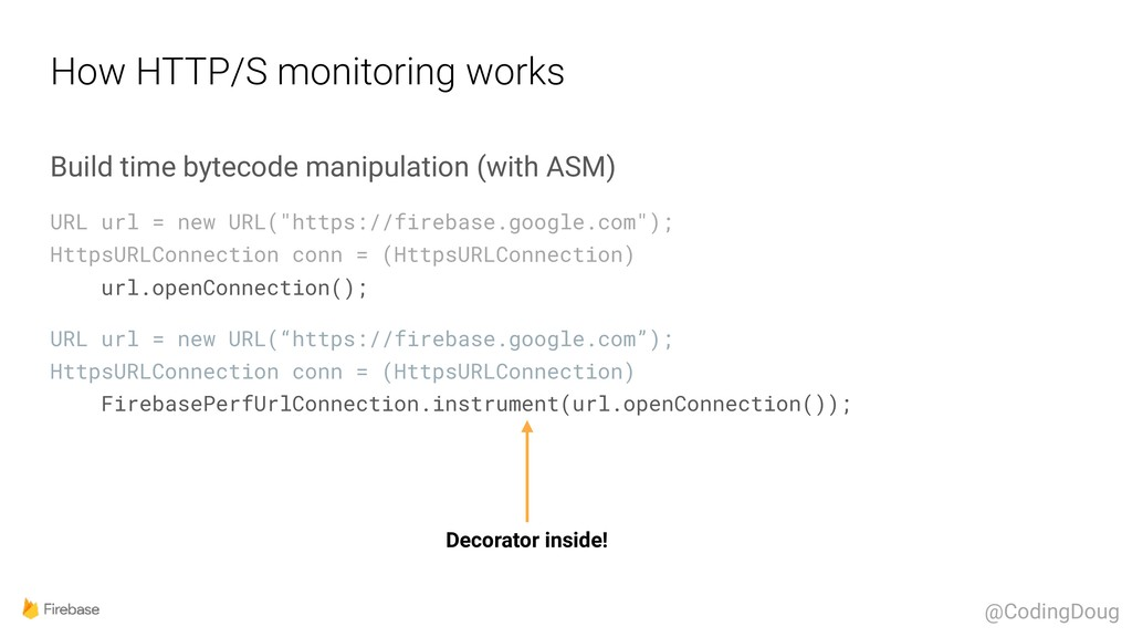 How HTTP/S monitoring works Build time bytecode...