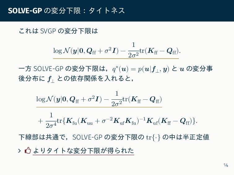 SOLVE-GP の変分下限:タイトネス これは SVGP の変分下限は log N(𝒚|𝟎,...