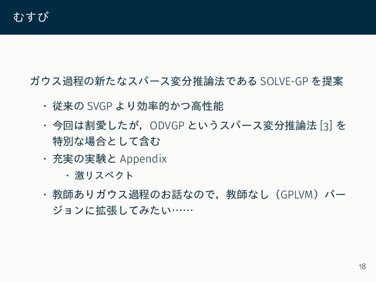 むすび ガウス過程の新たなスパース変分推論法である SOLVE-GP を提案 • 従来の SV...
