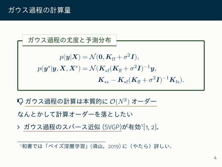 ガウス過程の計算量 ガウス過程の尤度と予測分布 𝑝(𝒚|𝑿) = N(𝟎, 𝑲ff + 𝜎2𝑰...
