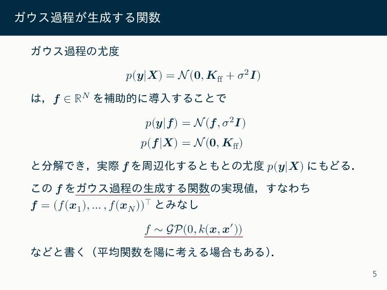 ガウス過程が生成する関数 ガウス過程の尤度 𝑝(𝒚|𝑿) = N(𝟎, 𝑲ff + 𝜎2𝑰) ...