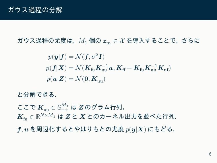 ガウス過程の分解 ガウス過程の尤度は,𝑀1 個の 𝒛𝑚 ∈ X を導入することで,さらに 𝑝(...