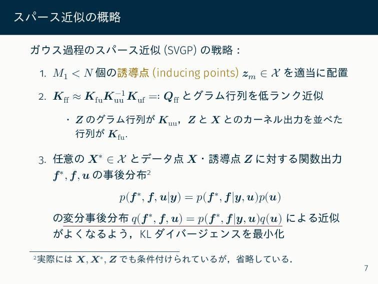 スパース近似の概略 ガウス過程のスパース近似 (SVGP) の戦略: 1. 𝑀1 < 𝑁 個の...