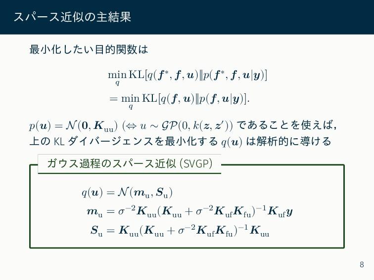 スパース近似の主結果 最小化したい目的関数は min 𝑞 KL[𝑞(𝒇∗, 𝒇, 𝒖)‖𝑝(𝒇...