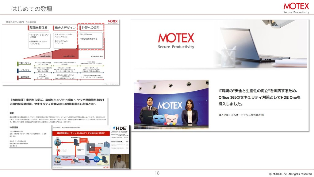 © MOTEX.Inc, All rights reserved 18 はじめての登壇