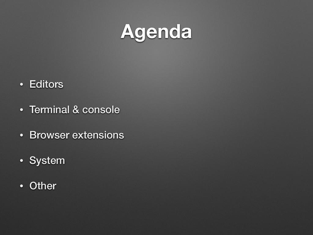 Agenda • Editors • Terminal & console • Browser...
