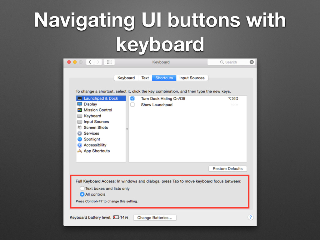 Navigating UI buttons with keyboard