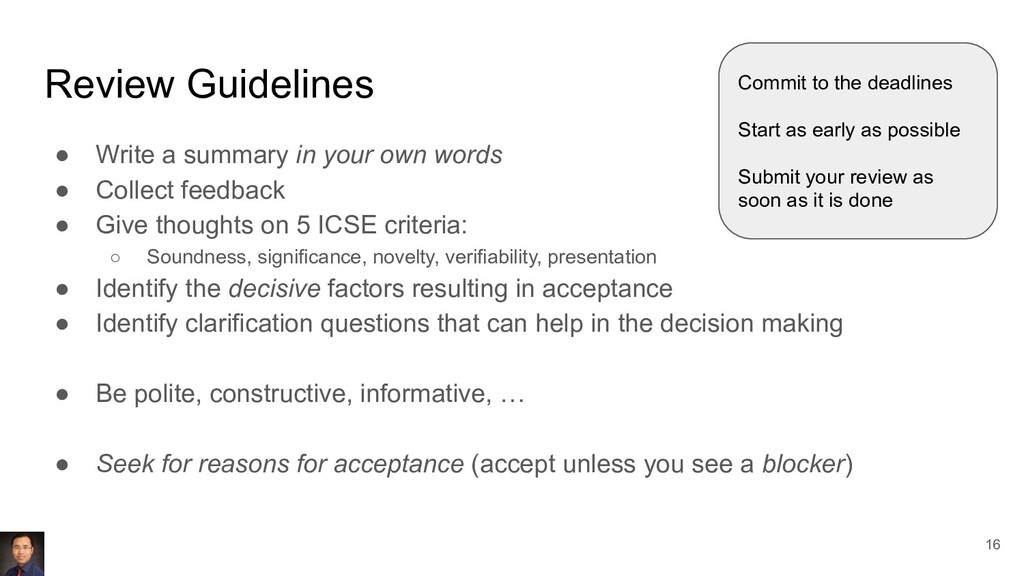Review Guidelines ● Write a summary in your own...