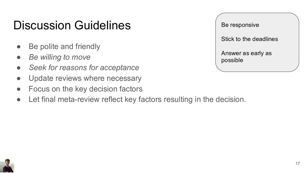 Discussion Guidelines ● Be polite and friendly ...