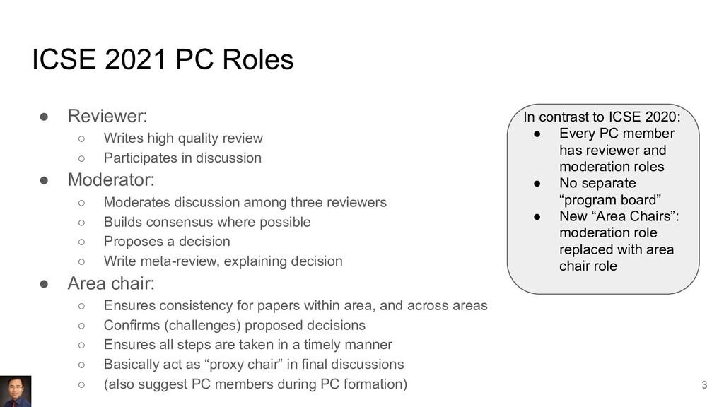 ICSE 2021 PC Roles ● Reviewer: ○ Writes high qu...