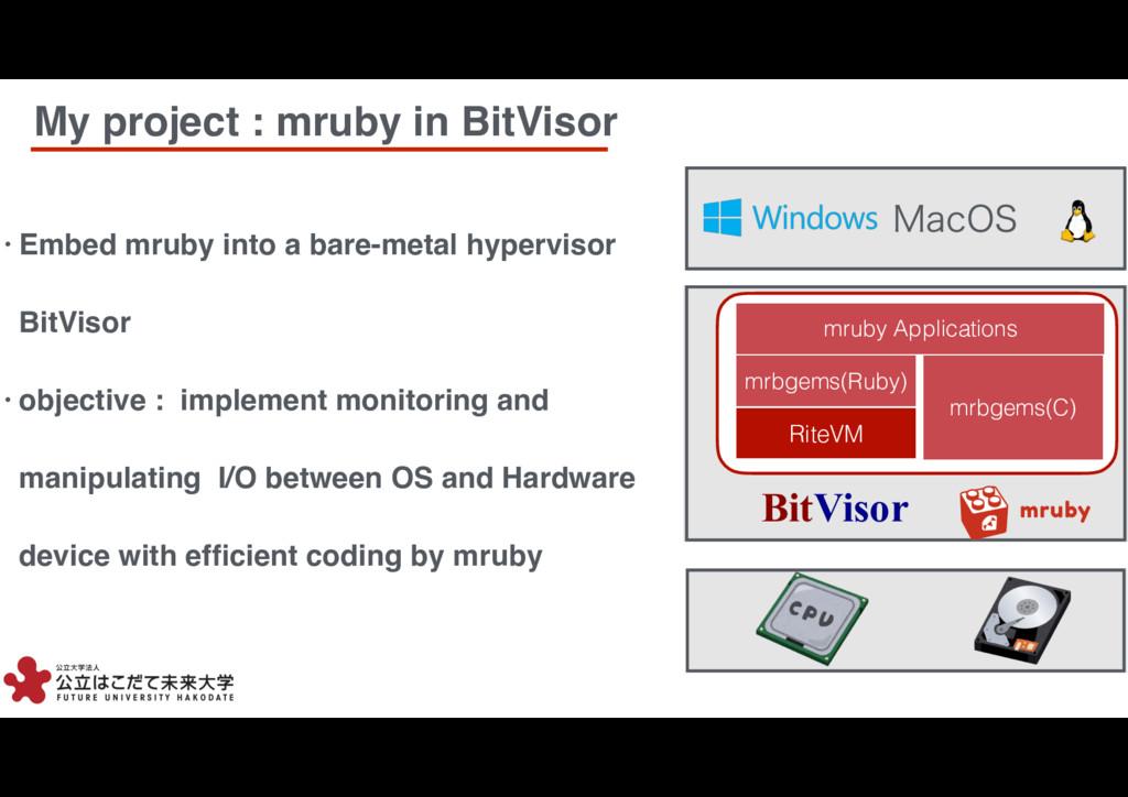 2 2 My project : mruby in BitVisor • Embed mrub...