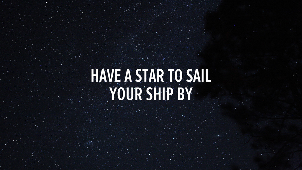 HAVE A STAR TO SAIL YOUR SHIP BY