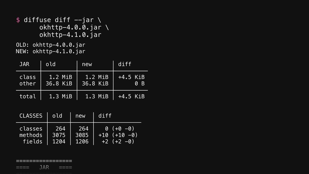 $ diffuse diff --jar \ okhttp-4.0.0.jar \ okh...