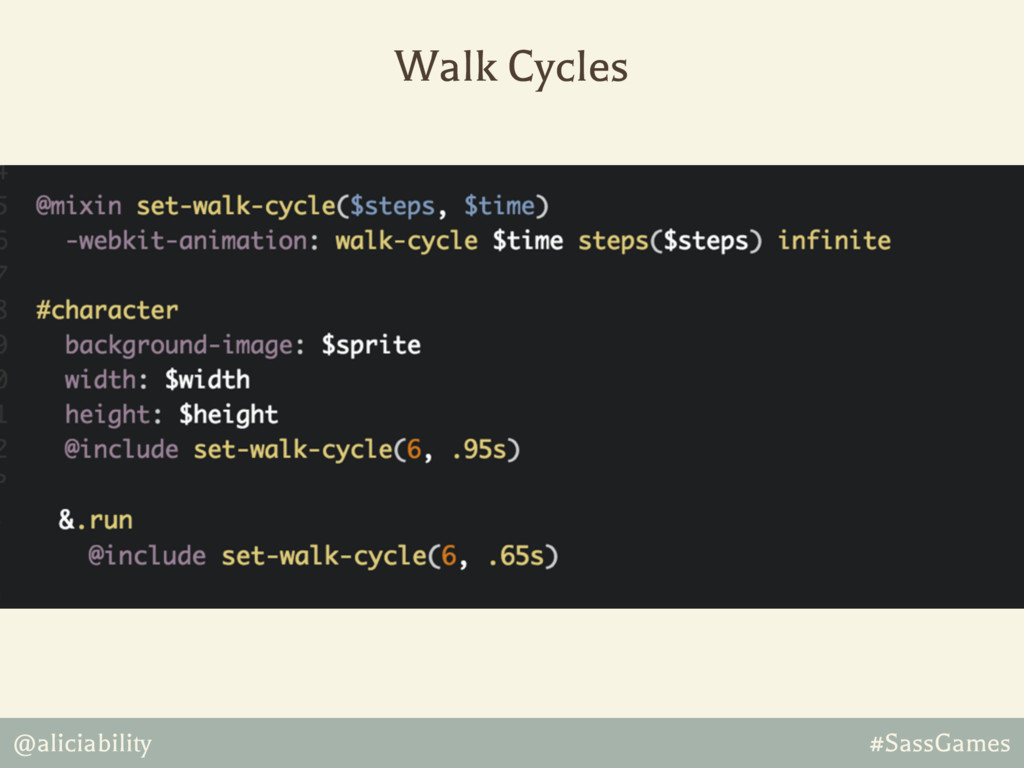 @aliciability #SassGames Walk Cycles