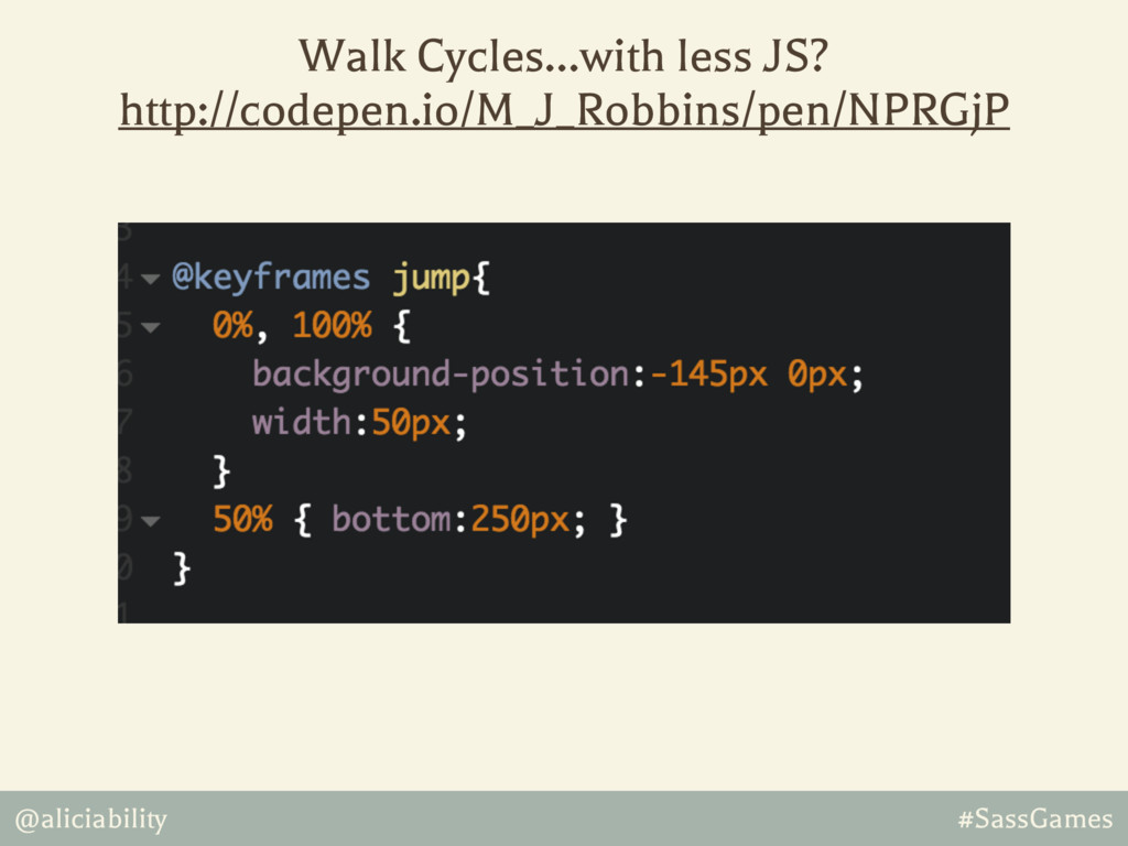 @aliciability #SassGames Walk Cycles…with less ...