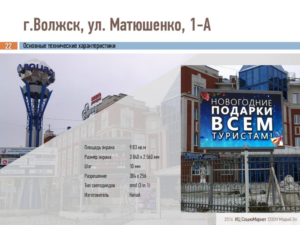 г.Волжск, ул. Матюшенко, 1-А 22 Площадь экрана ...