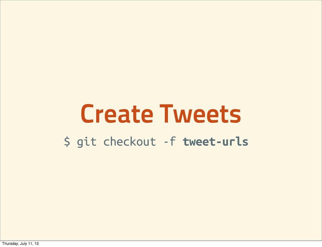 Create Tweets $ git checkout -f tweet-urls Thur...