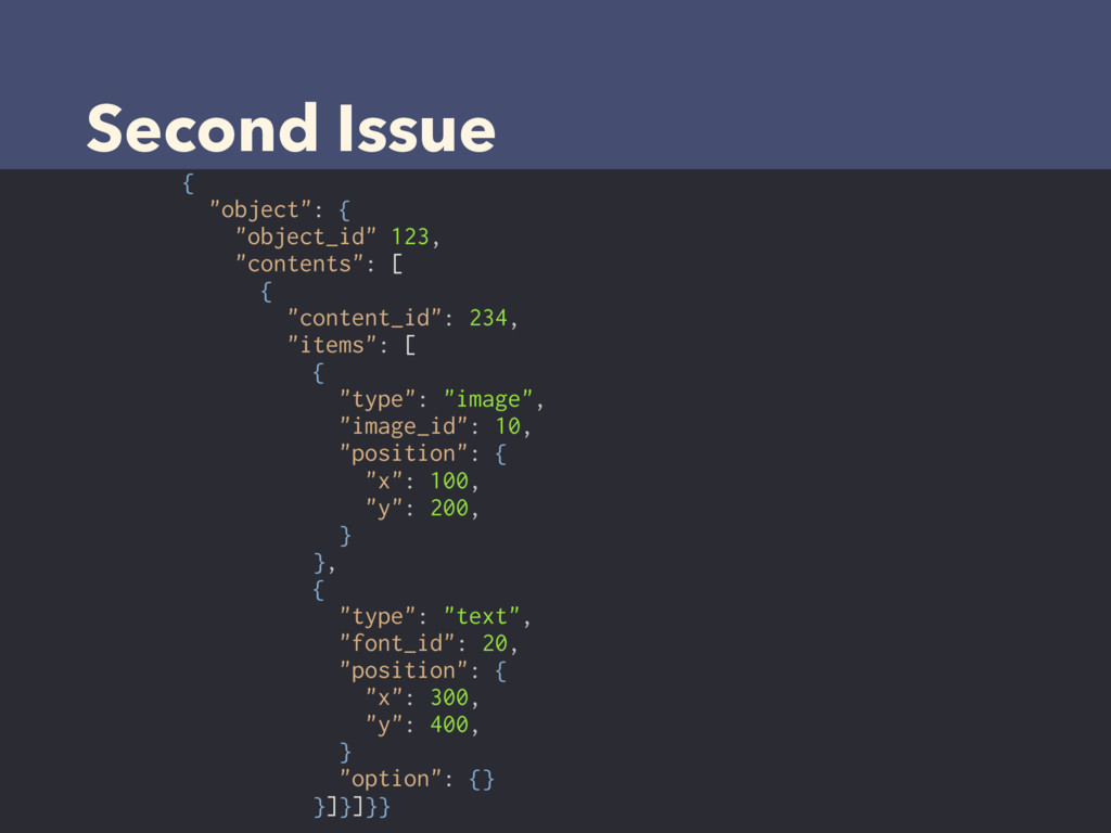 """Second Issue { """"object"""": { """"object_id"""" 123, """"co..."""