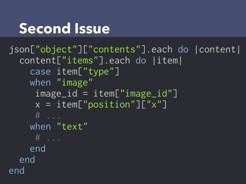 """Second Issue json[""""object""""][""""contents""""].each do..."""