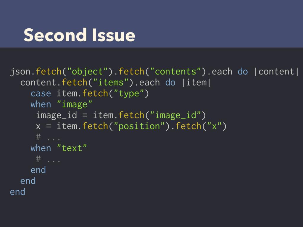 "Second Issue json.fetch(""object"").fetch(""conten..."