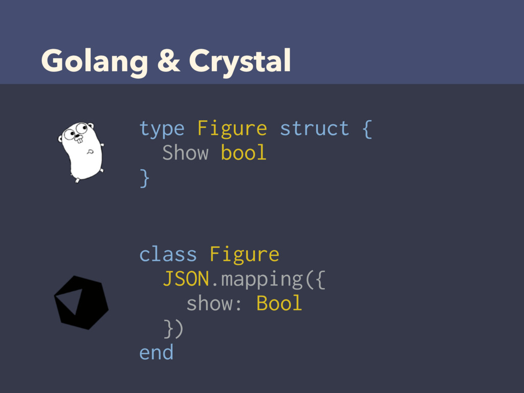 Golang & Crystal type Figure struct { Show bool...