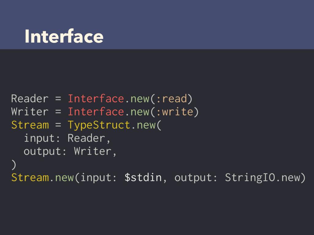 Interface Reader = Interface.new(:read) Writer ...