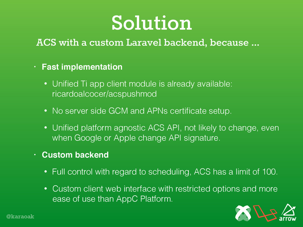 @karaoak Solution • Fast implementation • Unifie...