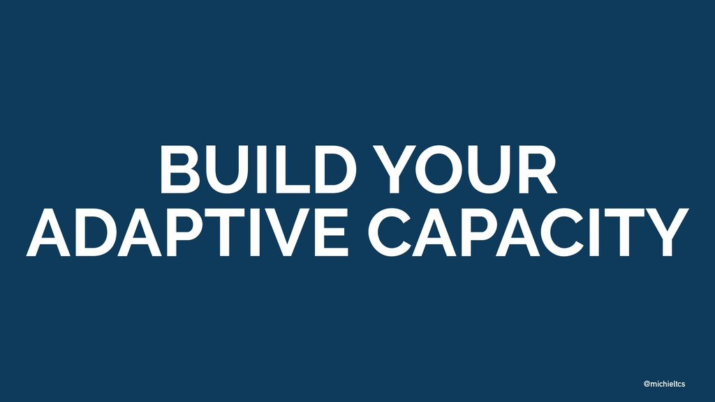 @michieltcs BUILD YOUR   ADAPTIVE CAPACITY