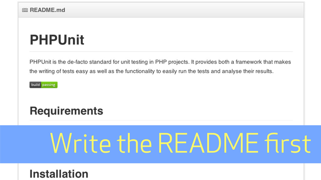 Write the README first