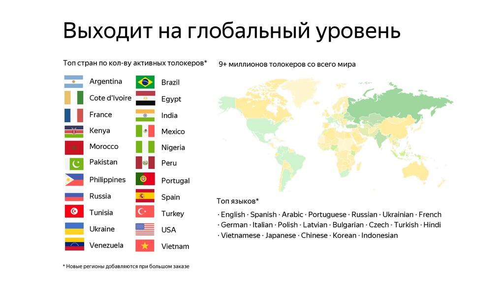 Выходит на глобальный уровень * Новые регионы д...