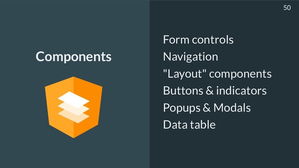 "Form controls Navigation ""Layout"" components Bu..."