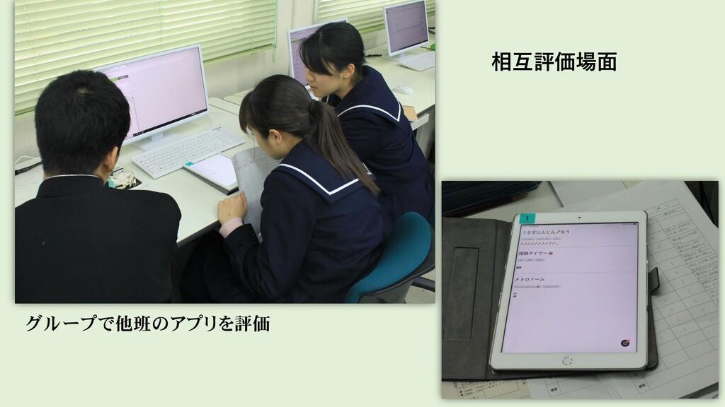 グループで他班のアプリを評価 相互評価場面