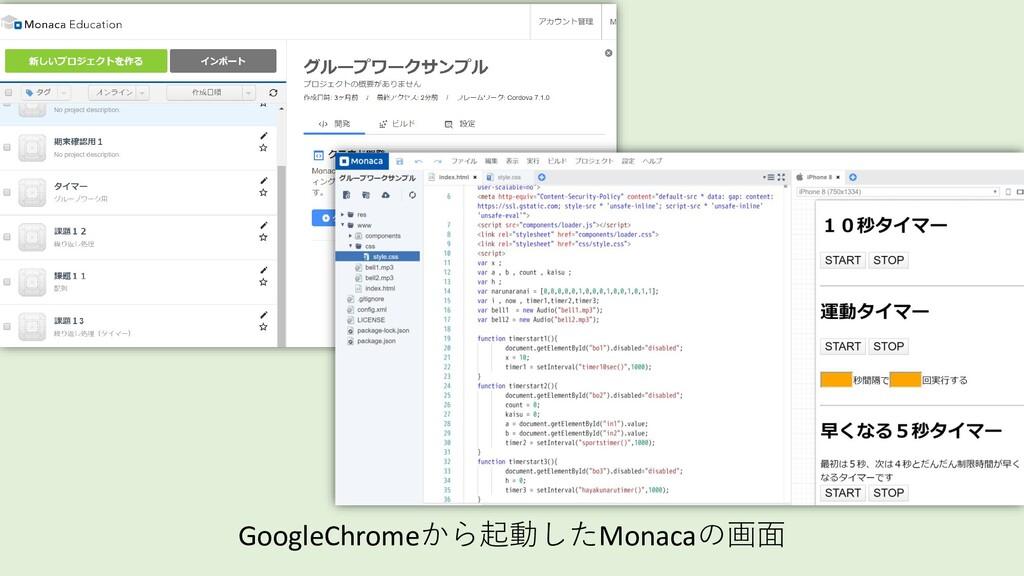 GoogleChromeから起動したMonacaの画面