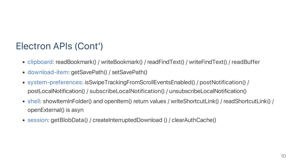 Electron APIs (Cont') clipboard: readBookmark()...