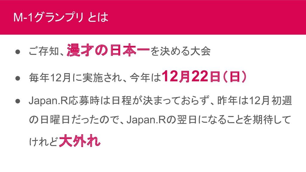 M-1グランプリ とは ● ご存知、漫才の日本一を決める大会 ● 毎年12月に実施され、今年は...