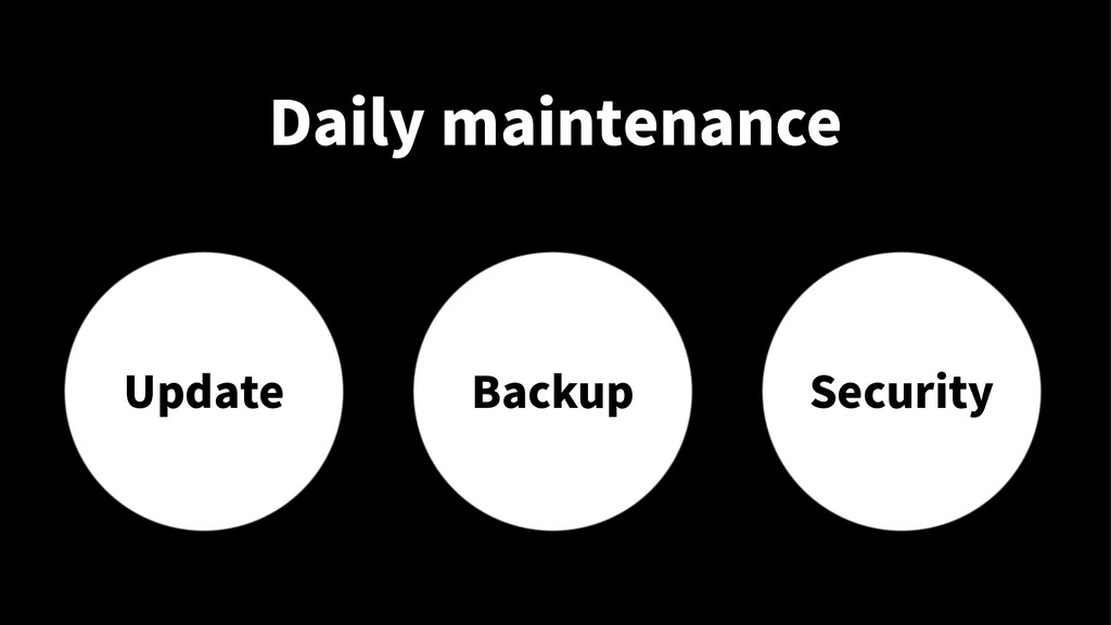 Daily maintenance Update Backup Security