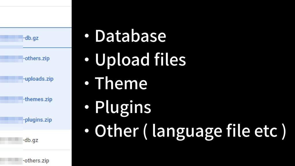 ・ Database ・ Upload files ・ Theme ・ Plugins ・ Ot...