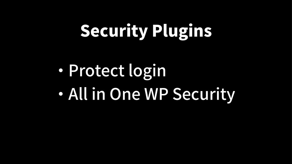 Security Plugins ・ Protect login ・ All in One W...
