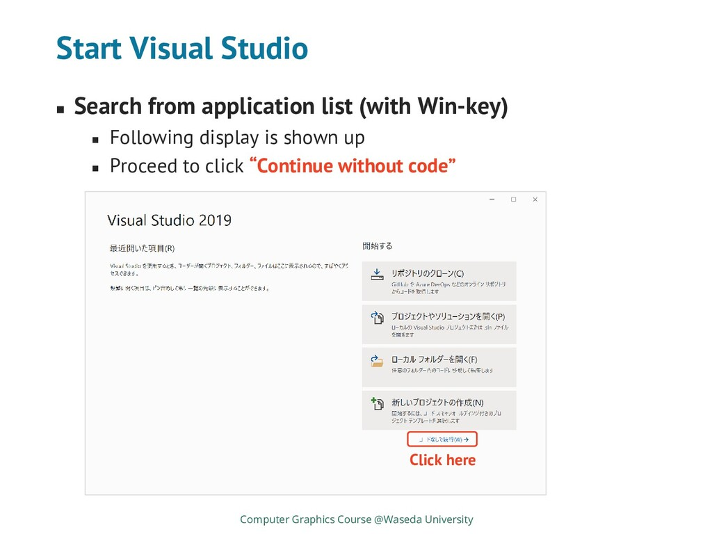 Start Visual Studio ◼ Search from application l...