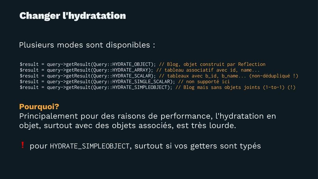 Changer l'hydratation Plusieurs modes sont disp...