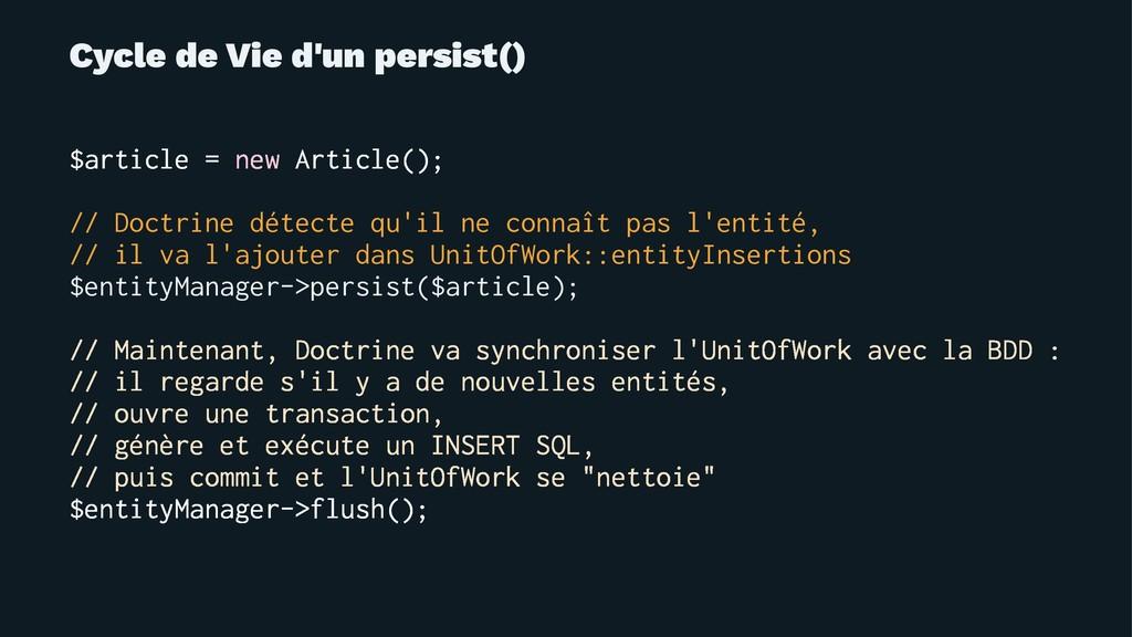 Cycle de Vie d'un persist() $article = new Arti...