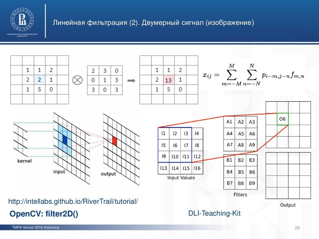 TMPA School 2018 Kostroma Линейная фильтрация (...