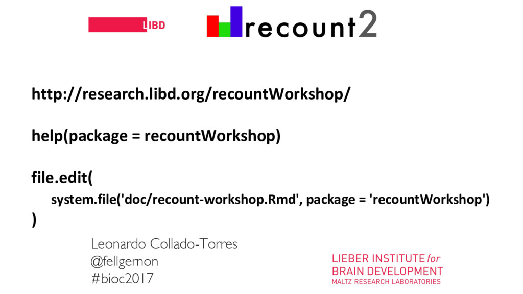 11 http://research.libd.org/recountWorkshop/ he...